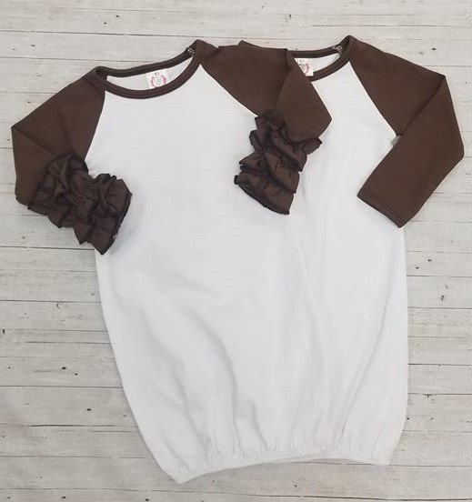 Brown Baby Gown with Ruffles