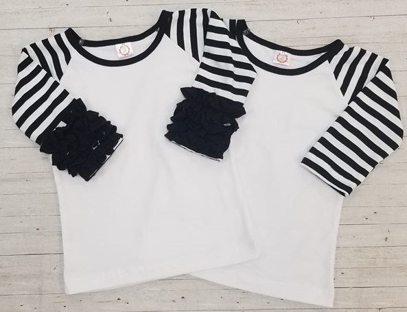 Black Stripe Sleeve Child's Raglan with Ruffles