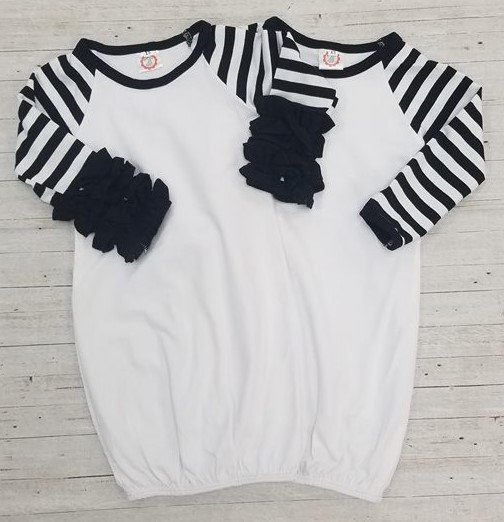 Black Stripe Sleeve Baby Gown with Ruffles