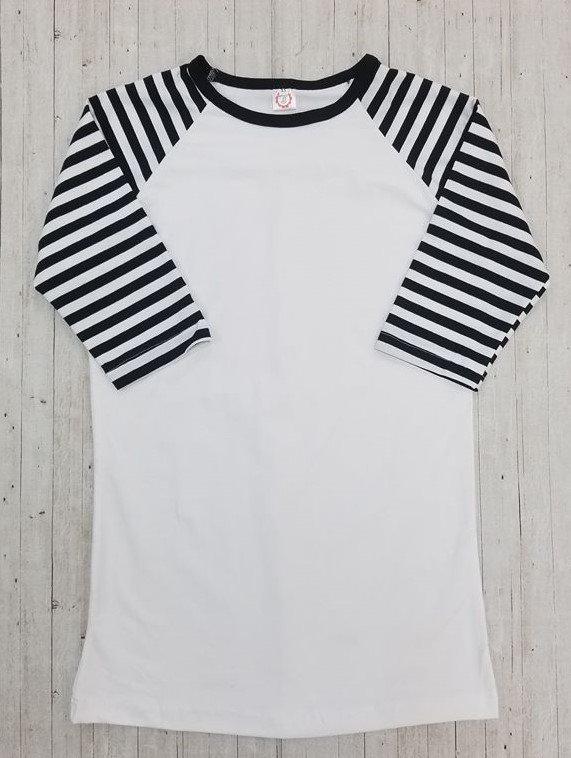 Black Stripe Sleeve Adult Raglan