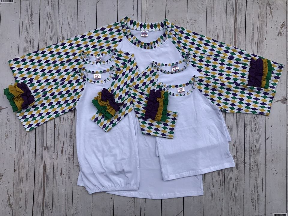 White Body no Ruffle Child Mardi Gras Raglan
