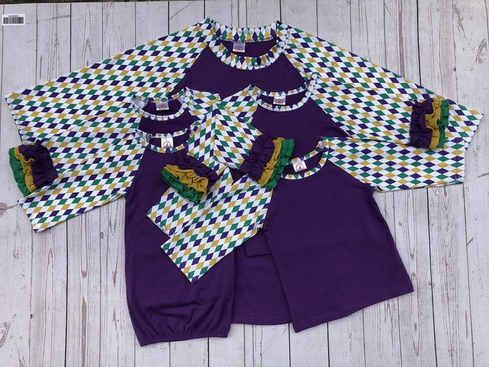 Adult Purple Body Mardi Gras Raglan