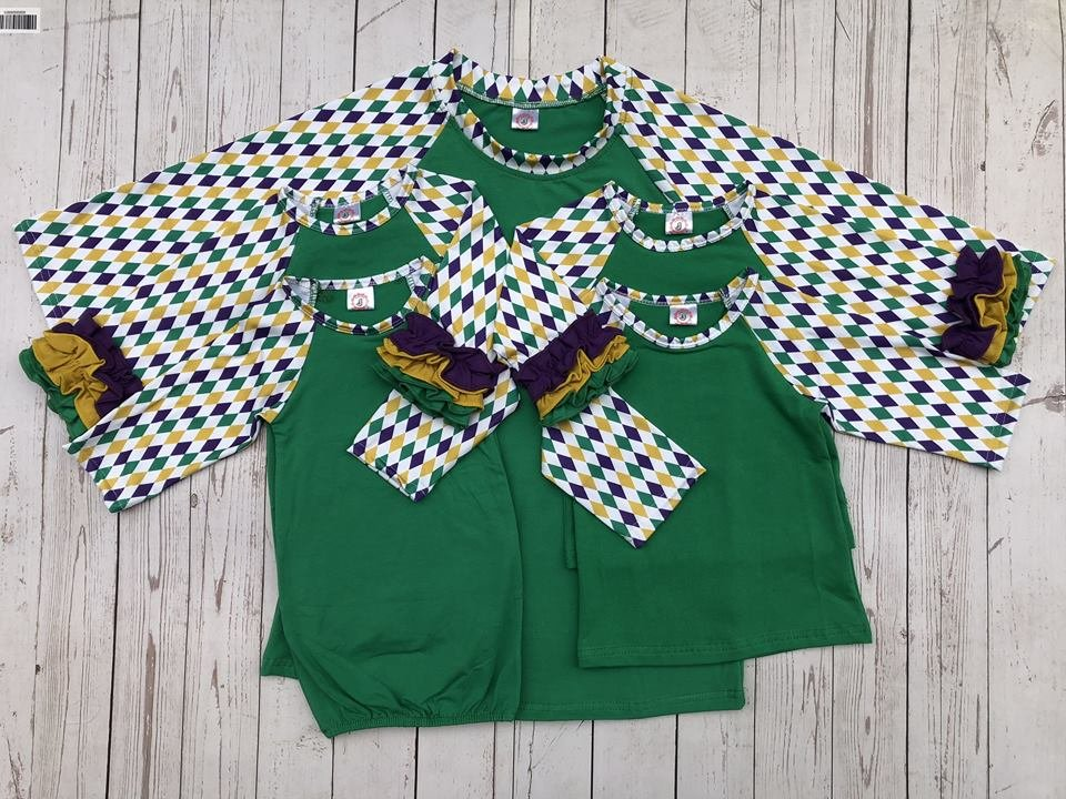 Green Body w/Ruffle Child Mardi Gras Raglan