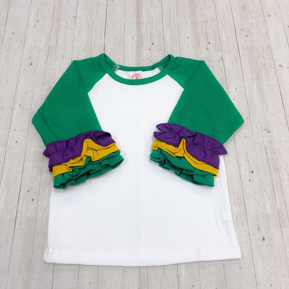 White Body Green Sleeve with Ruffle
