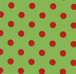 Red Dots on Lime Cotton Twill