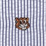 Orange Tiger Embroidered Navy Stripe Seersucker