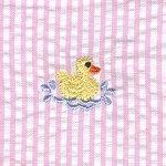 Duck Embroidered Pink Stripe Seersucker