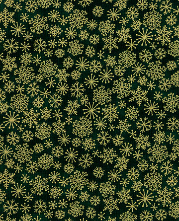 Christmas Green with Gold Snowflakes