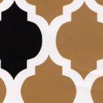 Black and Gold Quatrefoils Print Cotton - Fabric Finders