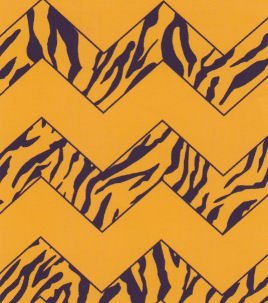 Gold with Purple and Gold Tiger Stripe Chevron - Fabric Finders