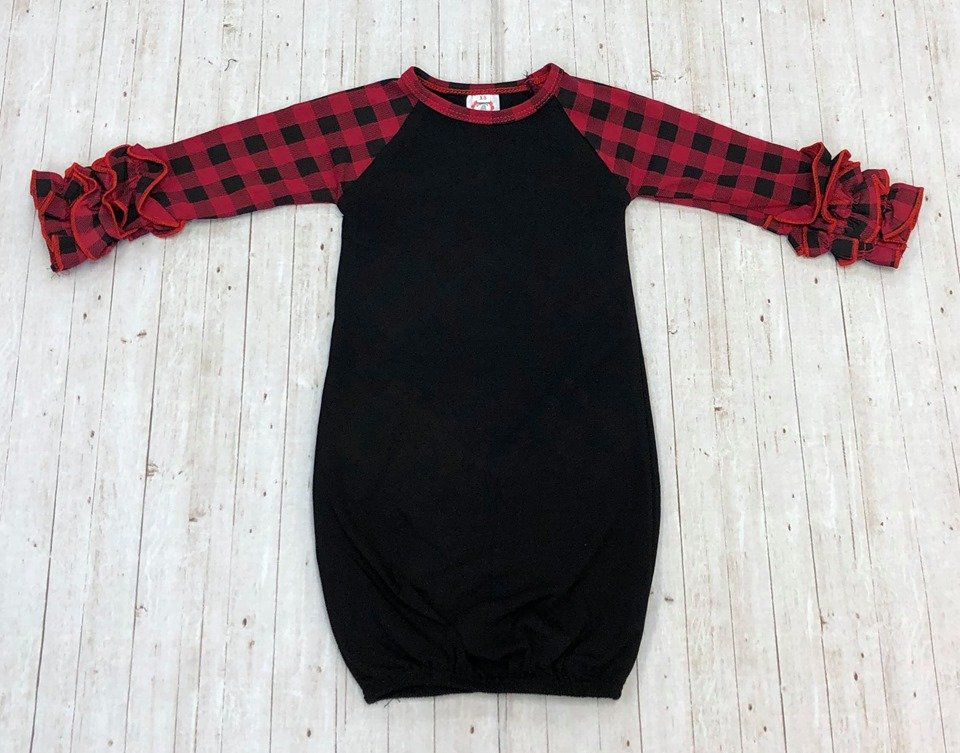 Buffalo Plaid Baby Gown with Ruffles #2