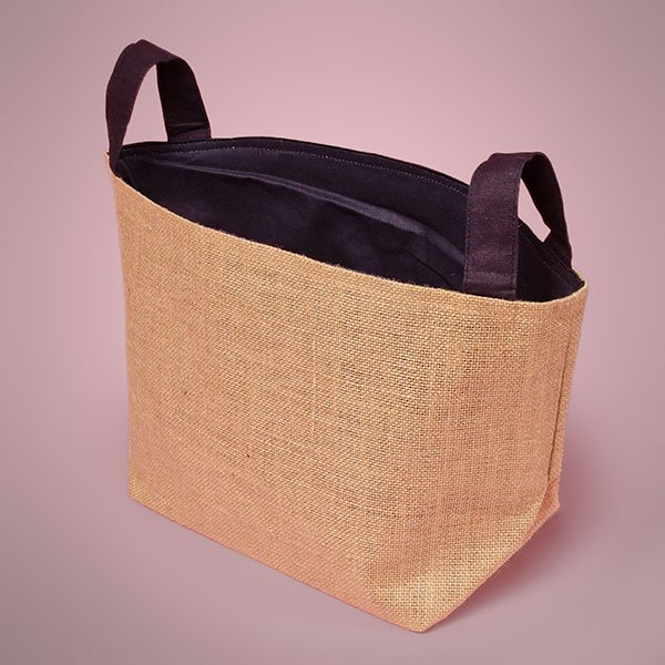 9x9x7 Natural Burlap Basket with Black Cotton Lining