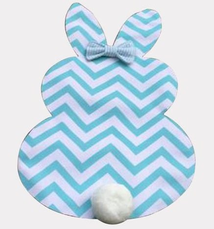 Blue Chevron Bunny Garden Flag