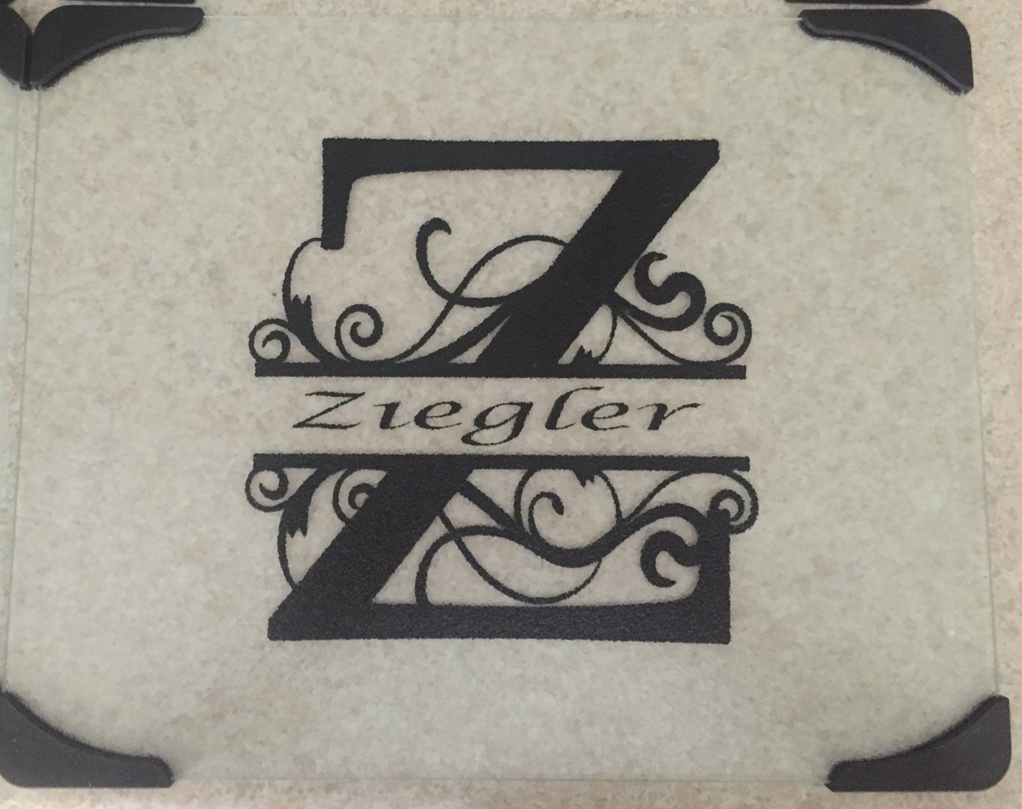 A Vinyl Personalized Glass Cutting Board