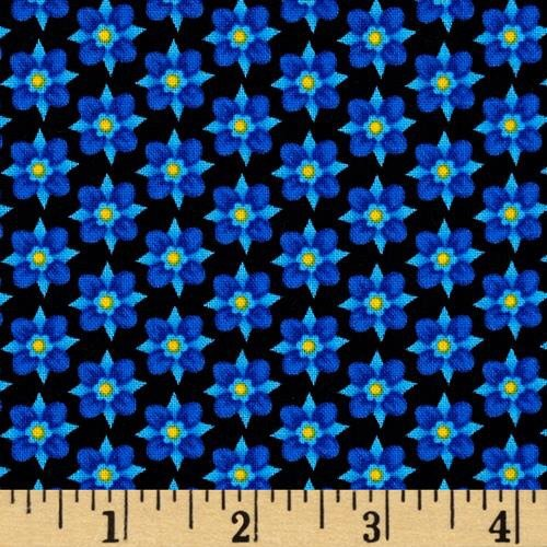Black and Blue Mini Floral  - Emily's Artful Days
