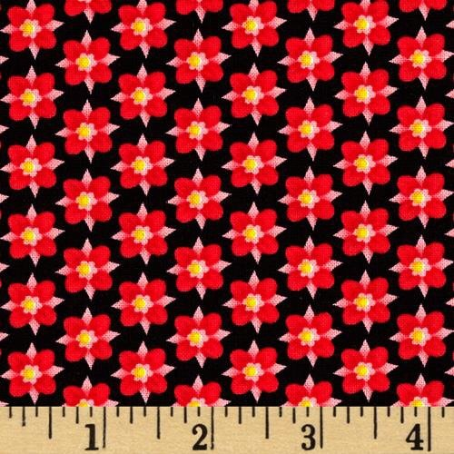 Black and Red Mini Floral  - Emily's Artful Days