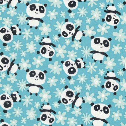 David Walker - Pandas - Field of Flowers - Aqua