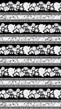 Black & White Flowers Border Print