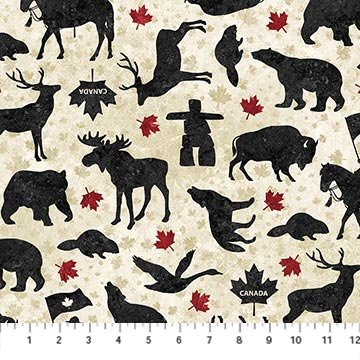 Stonehenge Oh Canada 6 All Over Animals on Beige