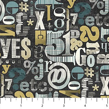 Letters, Numbers & Symbols Teal & Gold on Black