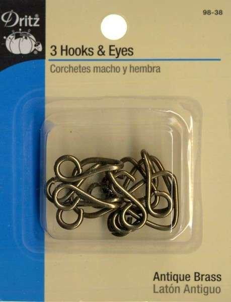 Dritz Extra Large Hooks & Eyes Black/Brass