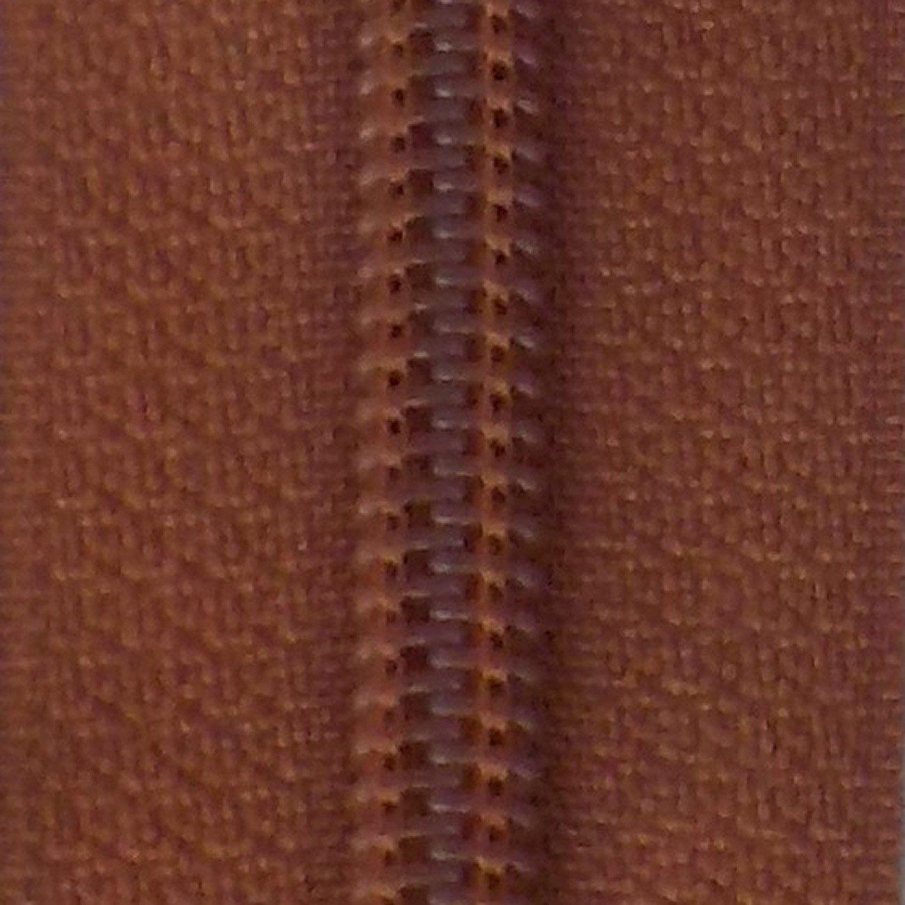 14 Nylon Coil Zipper Leather Brown