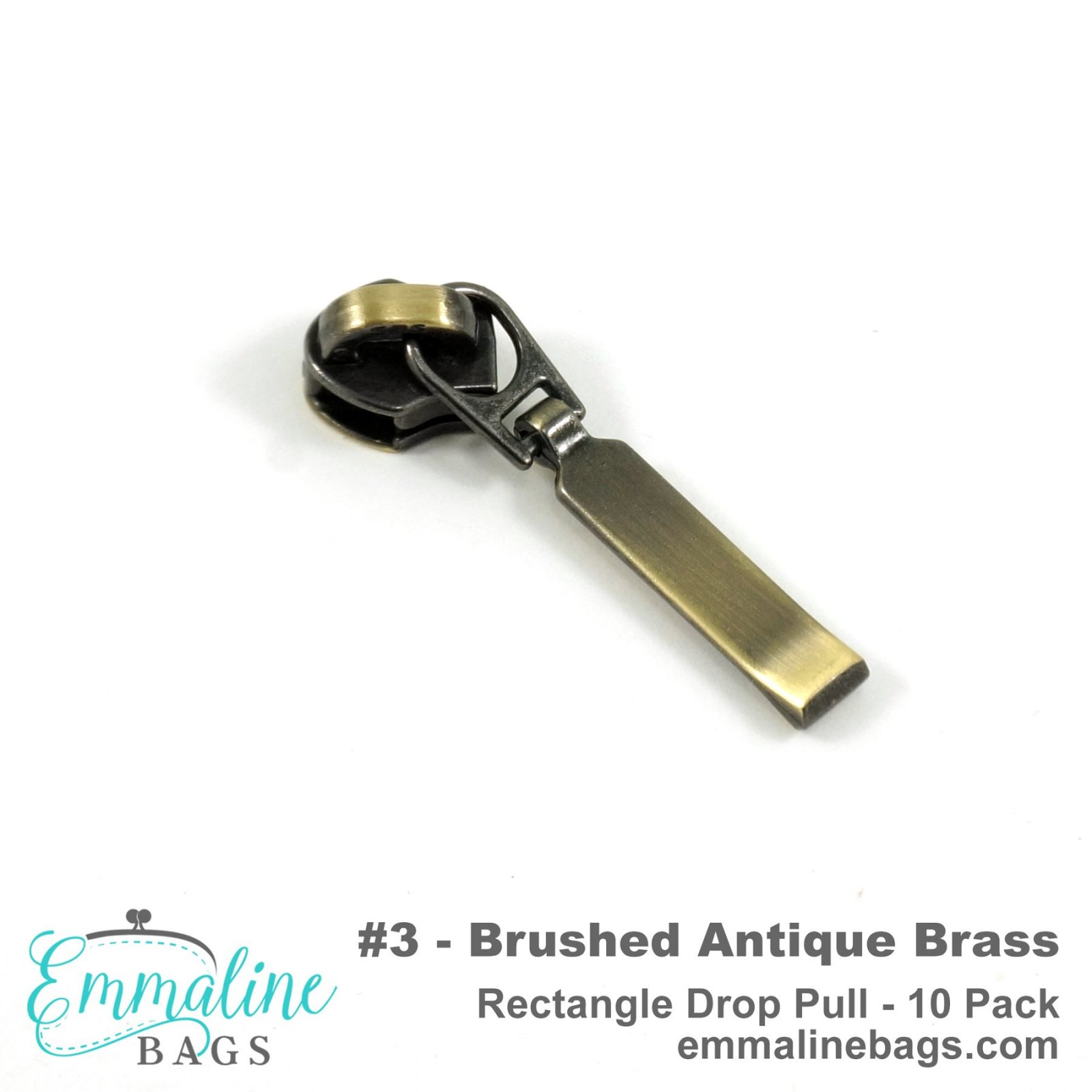 Zipper Sliders with Pulls #3 Antique Brass