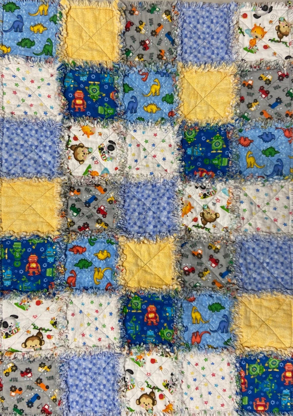 Boy Flannel Rag Quilt 35x48