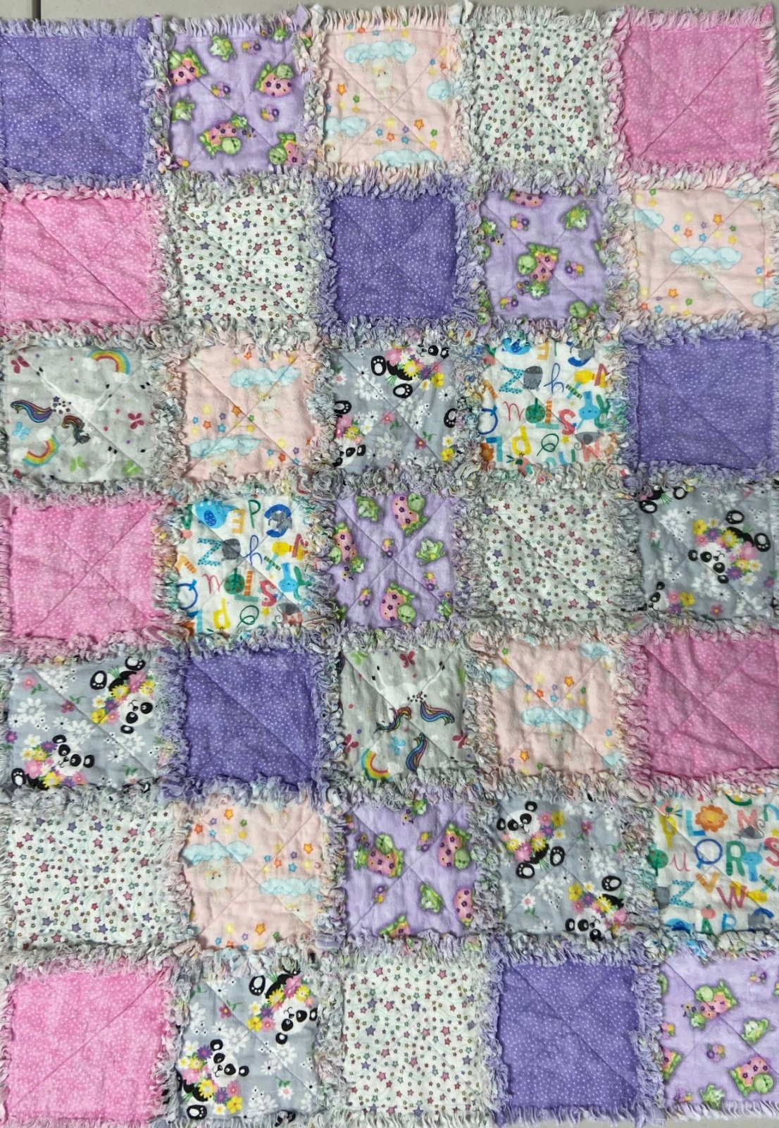 Girly Flannel Rag Quilt 35x48