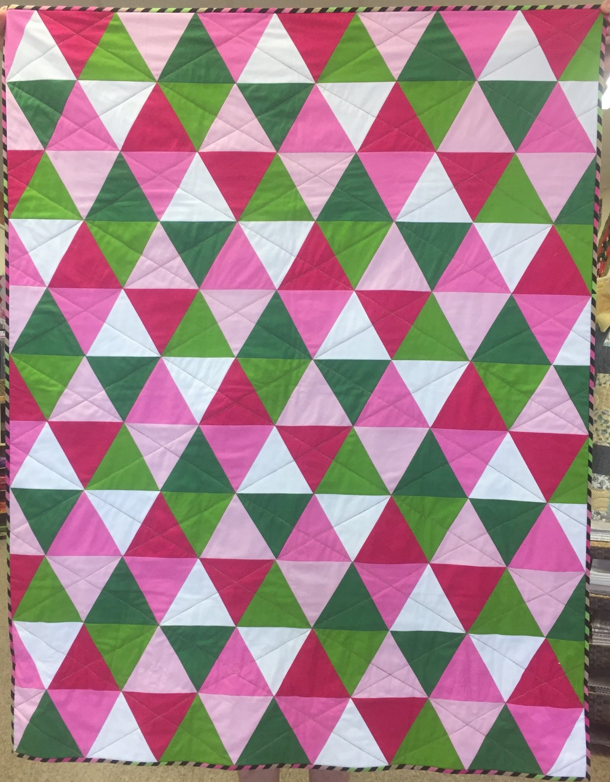Kyles Quilt Pink and Green Kit 40''x50'' with Backing