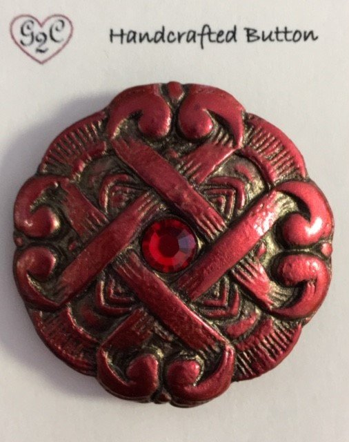 Celtic Heart Button Red/Gold with Crystal