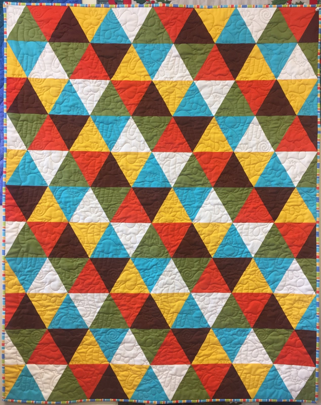 Kyles Quilt Orange, Yellow, Blue, Brown, Green 40''x50'' with Backing