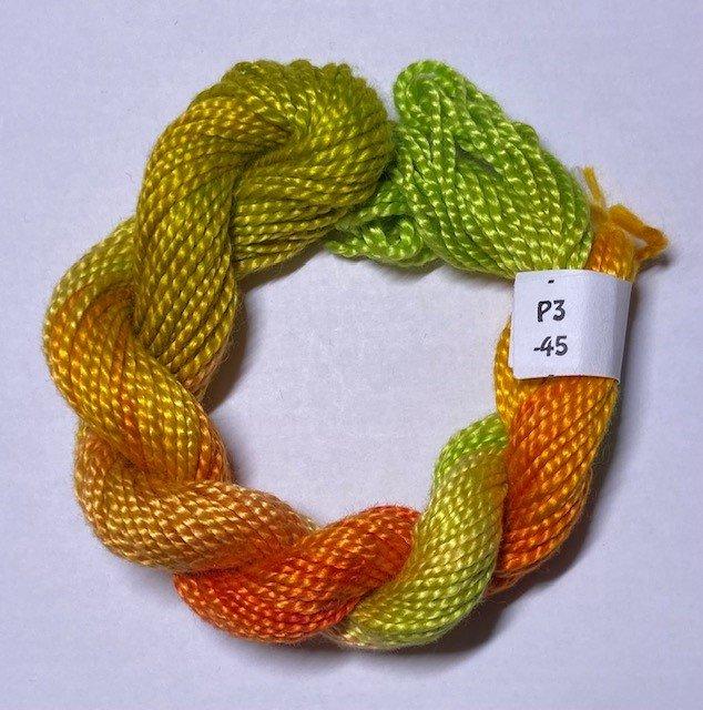 #3 Perle Cotton Lime Green, Orange