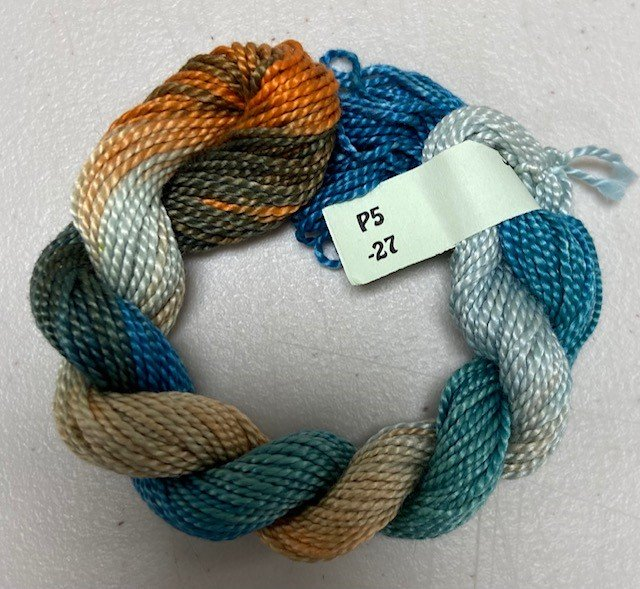 Teal/Rust/Beige #5 Perle Cotton