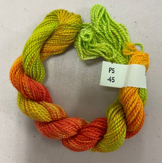 Lime Green, Red, Yellow #5 Perle Cotton
