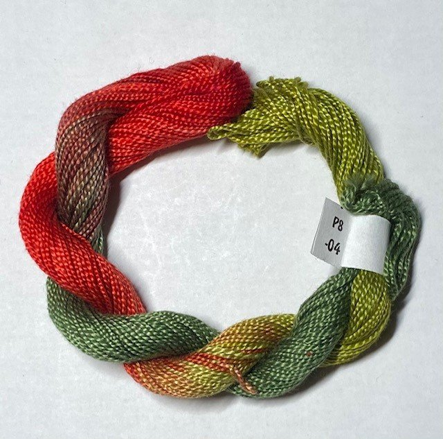 #8 Perle Cotton Coral/Green