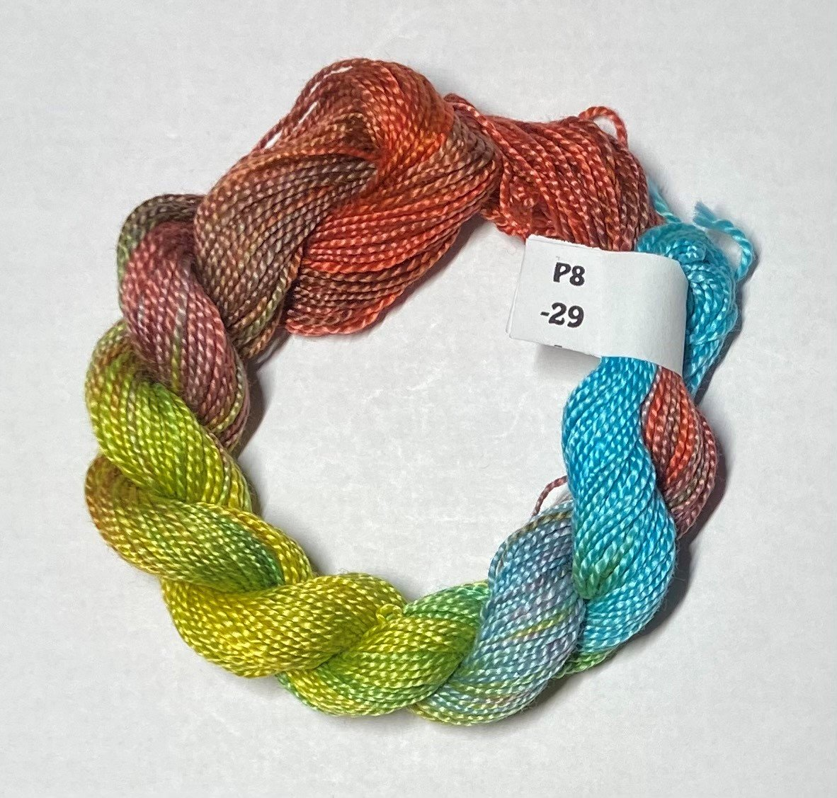#8 Perle Cotton Rust, Green, Turquoise