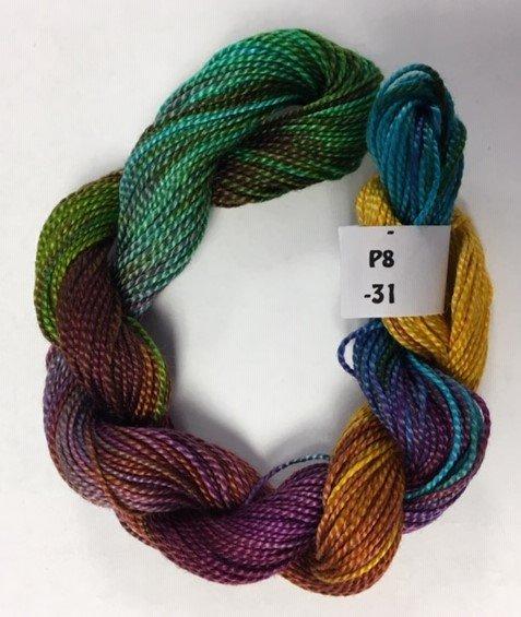 Purple, Green, Gold #8 Perle Cotton