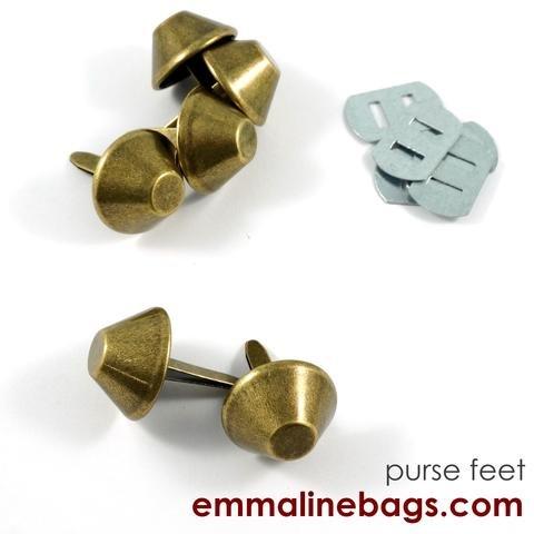 Bucket Purse Feet Antique Brass