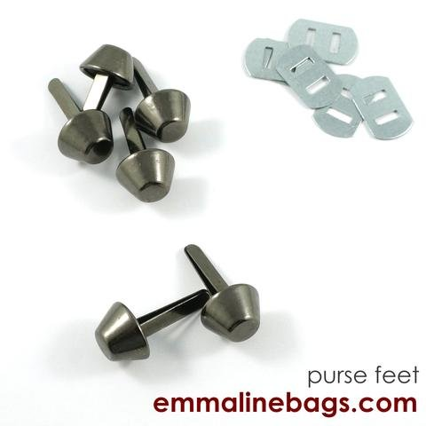 Bucket Purse Feet Gunmetal 14mm