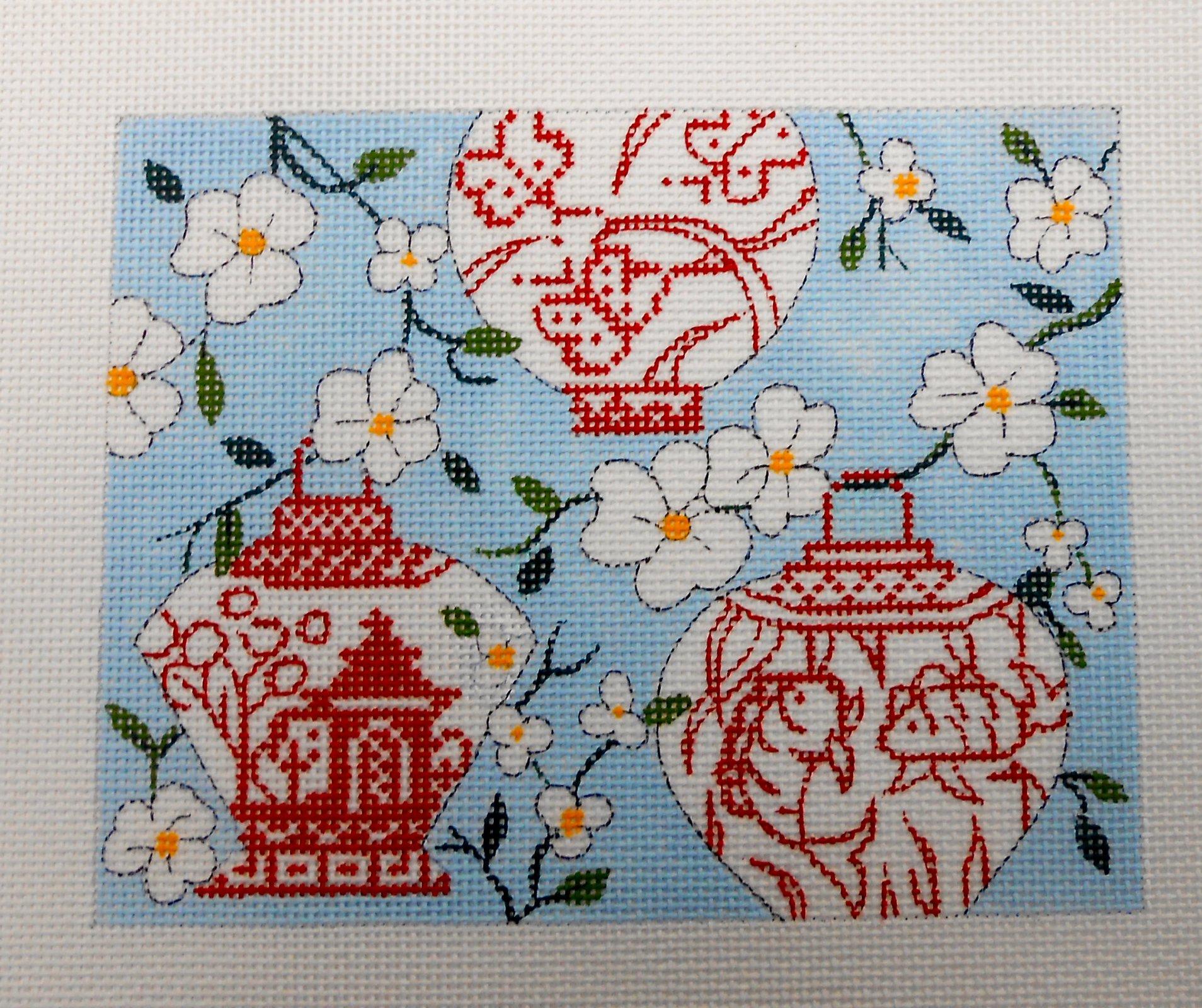 Chinese Lantern on Blue -Mahjong