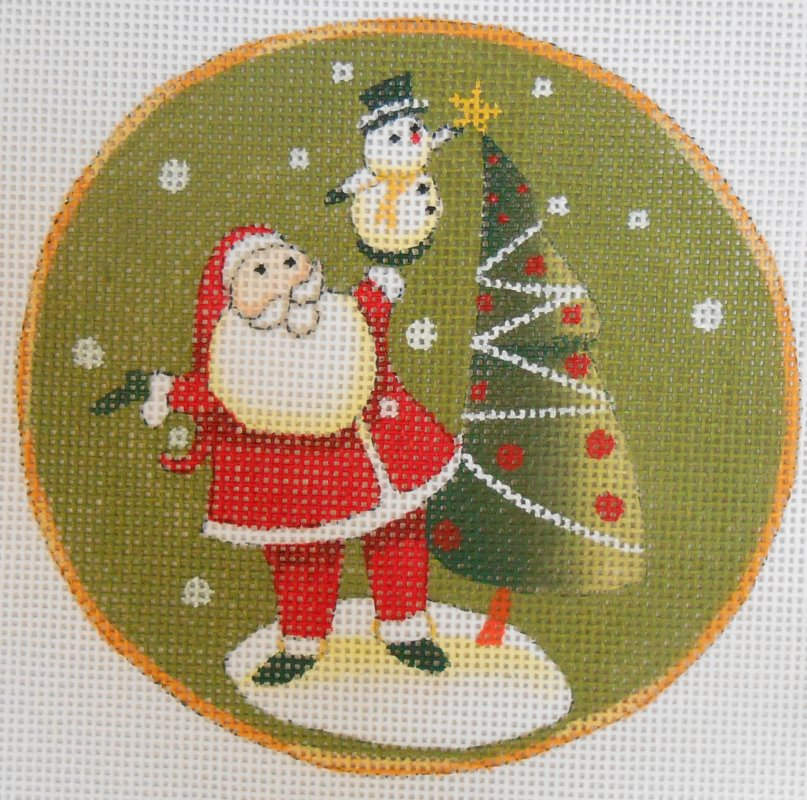 Santa and Snowman with Tree