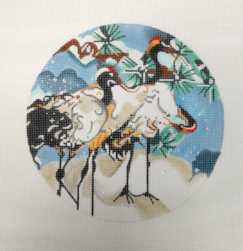 Three Snow Cranes in Circle