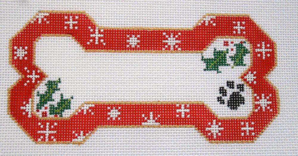Red Snow Flake Bone Ornament