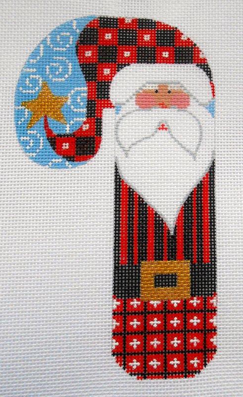 Checkered Santa Candy Cane