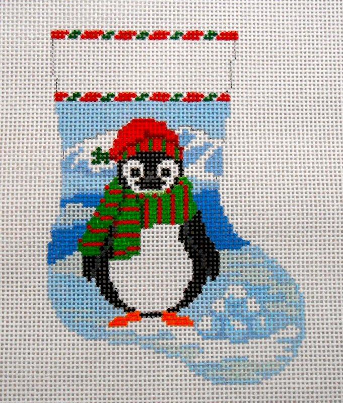 Penguin with Snowballs mini sock