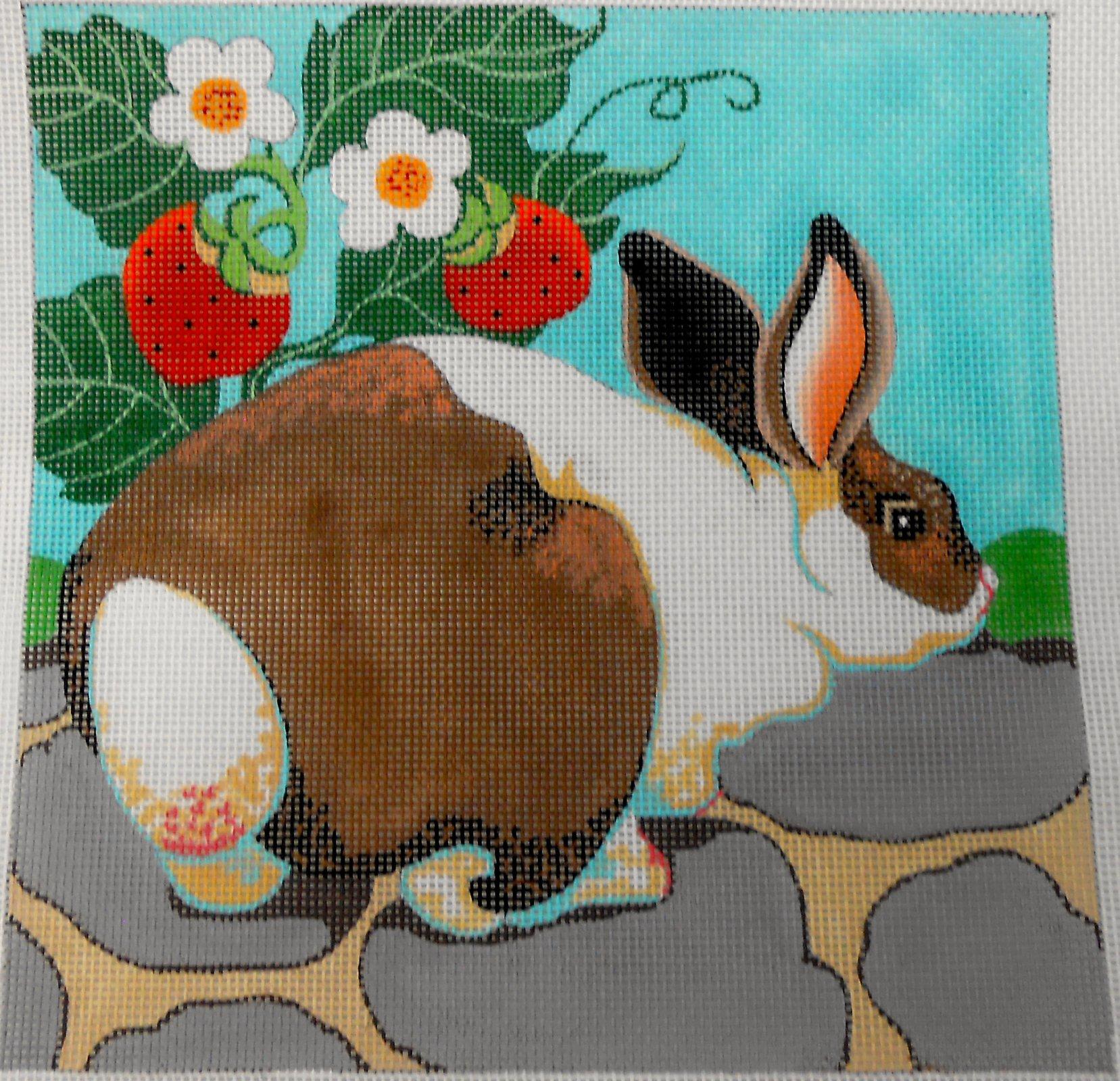 Rabbit & Strawberries - Square