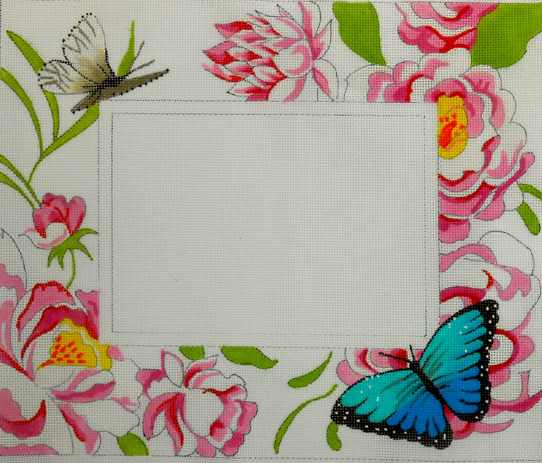 Pink Floral with Butterfly Frame