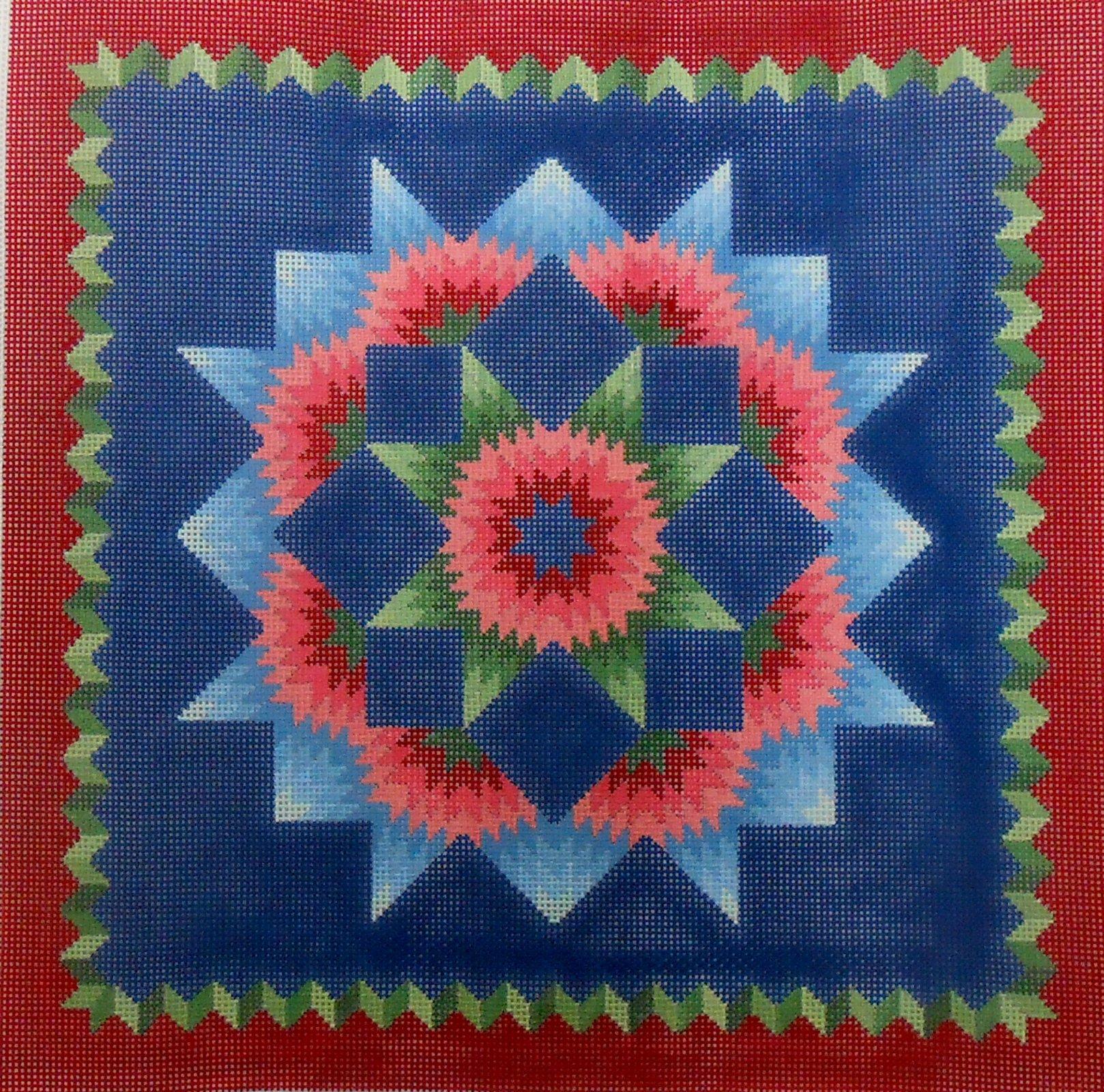 Carnation Star Quilt Pillow
