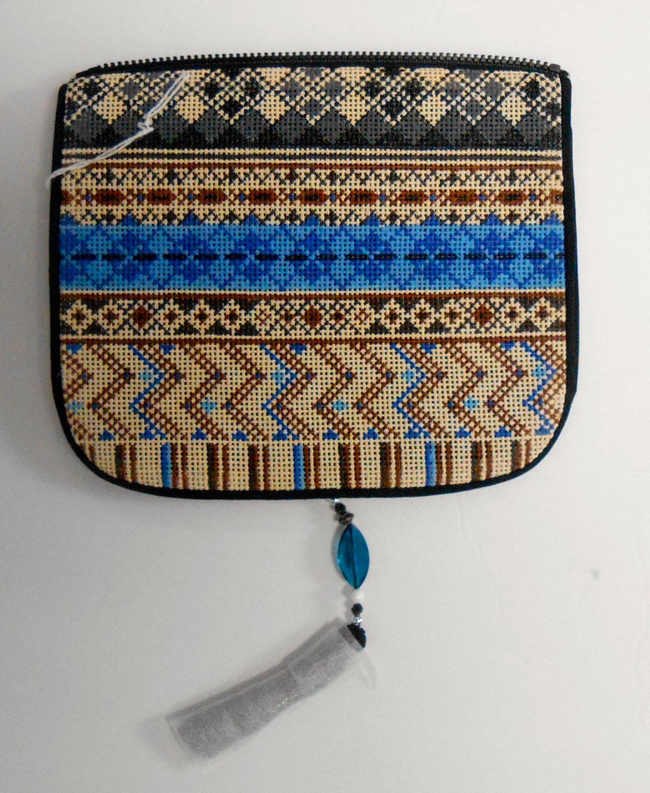 Black, Brown and Blue Geometric Purse Flap